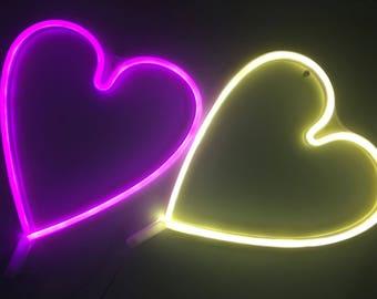 Acrylic Neon HEART Light - USB - Pink, White