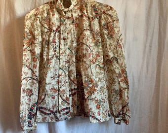 Beautiful Vintage Blouse Tie And Puff Sleeves