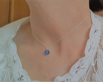 Sapphire Blue Swarvoski Crystal Sterling Silver Choker Necklace September Birthday Gift for Her Blue Crystal Jewelry