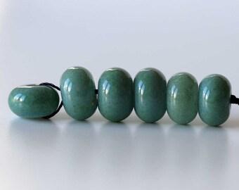 Green Enamel Lampwork Glass Beads Set of 6