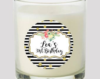 """Black White Stripes Gold Dots  2"""" Party labels personalize events Weddings Bridal Birthday Candles Cupcake toppers Mason Jar decals Stickers"""