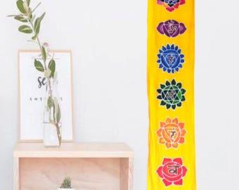 chakras batik wall hanging hand painted yoga decor room meditation yellow
