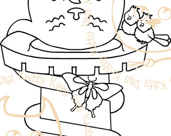 Digi Stamp Instant Download. Catpunzel - Knitty Kitty Digis No. 63 A&B