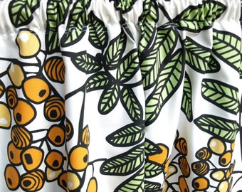 Curtain panel white orange yellow berries green leaves Cafe curtain Kitchen valance , also runner , napkins available, great GIFT