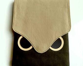 Cute Owl iPad Case Kawaii iPad Sleeve iPad Case Tablet Case Tablet Cover Tablet Sleeve Vegan iPad Case Fabric iPad Cover BEIGE DARK OLIVE