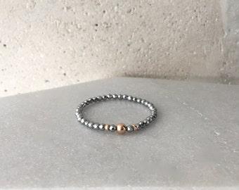 Small x Rose Gold Hematite Stretch Bracelet