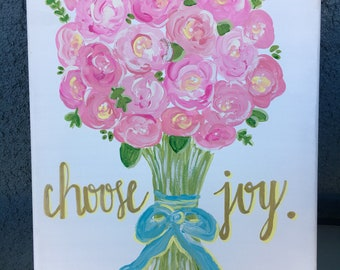 Floral Bouquet Canvas // Choose Joy // Flowers // Pink // Quote // Gifts for her