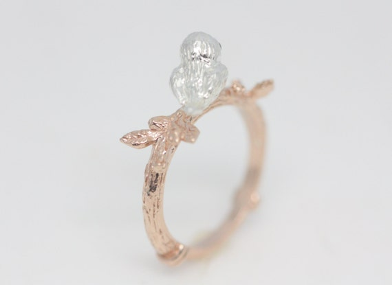 Little rose gold bird ring bird ring rose gold ring rose