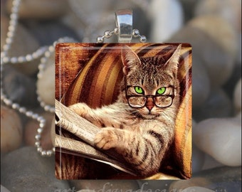 SMART KITTY Library Cat Glass Tile Pendant Necklace Keyring