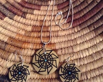 Geometric Pinwheel Gourd jewelry set