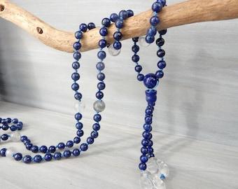Lapis Necklace. 108 Mala Necklace. Mala Prayer Necklace. Juzu Rosary. Tassel Necklace. Meditation Necklace. Lapis Lazuli Gemstone. Blue Mala