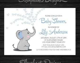 Elephant Baby Shower Invitation, Boy, Blue, Hearts, White, Baby Sprinkle,