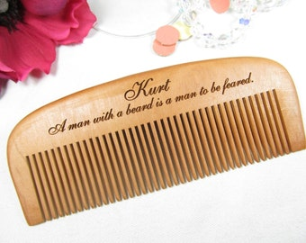 Fear the Beard Comb, Engraved Wooden Beard Comb, Personalized Wood Hair Comb, Custom Engraved Wooden Comb, Wood Mustache Comb Gift