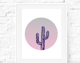 A3 Cactus Print - Cactus Plant Garden Art Print - Cactus Print - Home Decor - Cactus Circle Art - Botanicals Art Print
