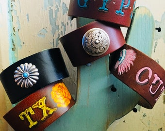 Leather Concho & Tooled Cuff Bracelets