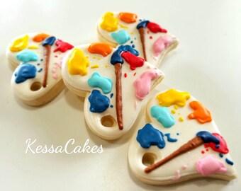 Paint party favors, paint party cookies,paint brush cookies, paint party, art cookies, art party,little artist party