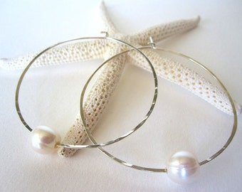Large Sterling Silver Hoop Pearl Earrings, Freshwater Pearl Earrings, White Pearl Hoop Earrings, Black Pearl Earrings, Silver Pearl Earrings