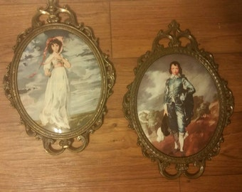 Vintage Pair of Framed Boy and Girl / Vintage Italian Ornate Oval Metal Frame / Bubble Glass