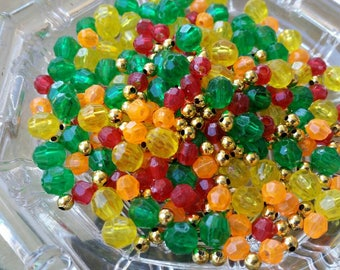 300 Small Yellow, Green, Orange, Red, and gold Plastic Beads - 6mm - Faceted beads and spacer beads mix Thanksgiving