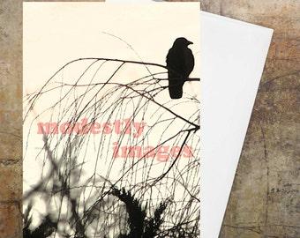 Crow card, Handmade art cards, custom card, bird card,  hand made greetings card, blank bird card, artist illustration', 'Crow tells it '