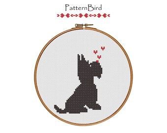 Scottie Dog (Love is in the air). Instant Download PDF Cross Stitch Pattern
