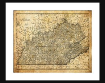 Kentucky & Tennessee State Map Vintage Print Poster Grunge