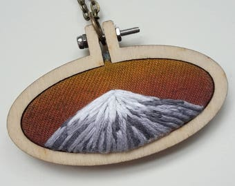 "embroidery necklace ""mountain sunrise II"""