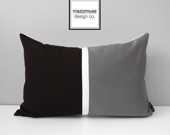 SALE - Dark Brown & Grey Outdoor Pillow Cover, Modern Color Block Pillow Cover, White and Gray Pillow Cover, Walnut Sunbrella Cushion Cover
