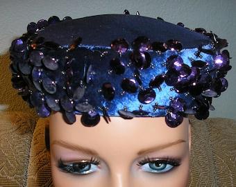 """Vintage 60s, blue, Schiaparelli, Paris, hat, pastilles and beading,  20"""""""