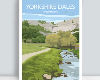 Yorkshire Dales print featuring Malham Cove, North Yorkshire, England. Art Print/Poster.
