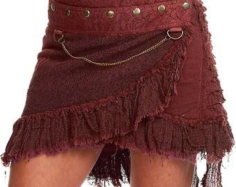 STEAMPUNK SKIRT, Elf skirt, pixie skirt, gypsie skirt, psytrance skirt, goa skirt, wrap skirt, Mfskny