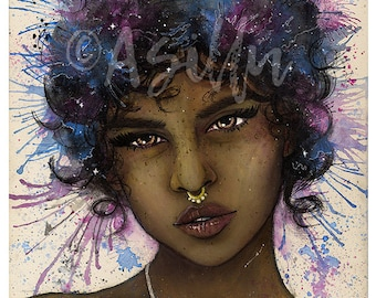 "Cosmic • Original Art • Watercolour + Acrylic painting • A4 8"" x 12"" canvas • Space themed portrait"