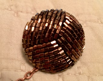 VINTAGE SWEATER CLIP, Upcycled Jewelry, Cardigan or Dress Clip, Copper Seed Beads, Repurposed, Handmade, Under 10 Dollars, ooak