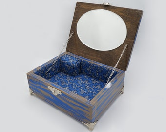Rustic Blue and Brown Jewelry/Music box