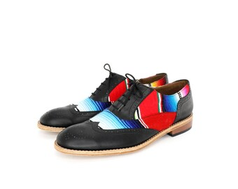mexican blanket ( zarape ) and black brogues oxford shoes - FREE WORLDWIDE SHIPPING