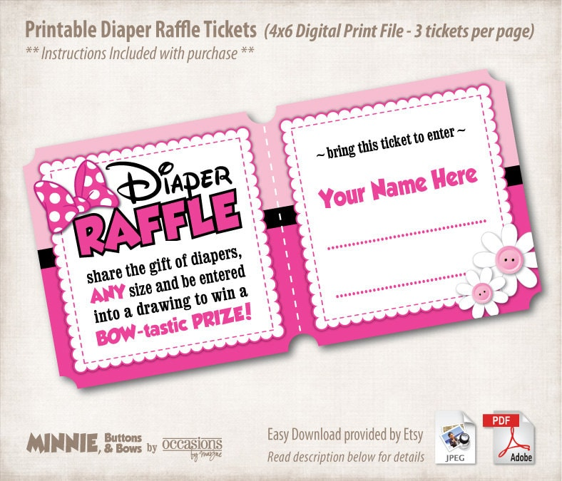 Instant download printable baby shower diaper raffle tickets zoom pronofoot35fo Image collections