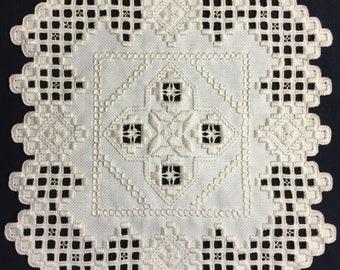 Hardanger Doily Embroidery CREAM