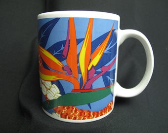 Vintage Hawaiian Vacation Coffee Mug Tea Cup Hilo Hatties Blue Orange Retro Hippie