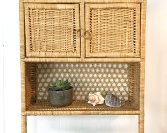 RESERVED for Atsuko // vintage rattan cabinet - woven wicker wall cupboard - bathroom storage shelf