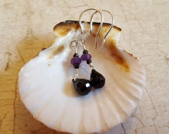 Stunning Amethyst and Black Spinel Earrings 925 Sterling Silver Wires
