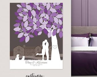 Summer wedding guest book, canvas wedding tree guest book, Personalized Skyline & Silhouette Wedding Keepsake, // W-T05-1PS HH3