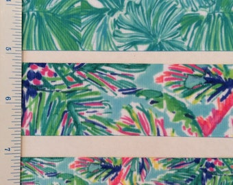 """Lilly inspired tropical palms ferns grosgrain ribbon 7/8"""" 1.5"""""""