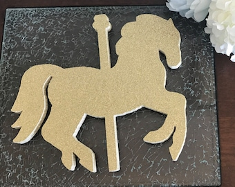 Carousel horse centerpiece | Carousel themed party | Merry go round | horse diecut | Carousel centerpiece | Gold | Silver | cupcake toppers