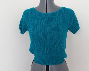 Vintage 1980s Teal Blue Short Sleeve Sweater - Womens Bust 32 (B5)