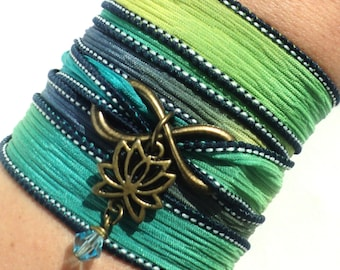Wrap Bracelet, New Beginnings, Silk Wrap, Silk Wrap Bracelet, Yoga, Yoga Jewelry, Christmas, Stocking Stuffer, Infinity Bracelet, Charm