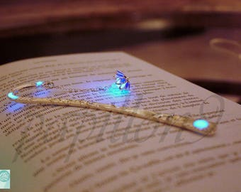 Lotus Bookmark / Blue or Purple Lotus / Flower BOOKMARK / GLOW in the DARK Bookmark / Purple Lotus Bookmark /