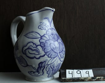 Blue And White Pitcher / Floral Pottery Pitcher / Handmade Pouring Vessel / Decorated Floral Pitcher / Mother's Day Gift / Pottery Jug / 499