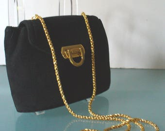 Vintage Frenchy of California Black Suede Shoulder Bag