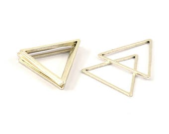 Silver Triangle Ring, 25 Antique Silver Plated Brass Triangles (24x24x24mm) Bs-1125 H049