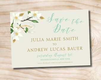 Gold Glitter and White Floral Turquoise Wedding Save the Date - Printable digital file, printed invitations, printed magnet